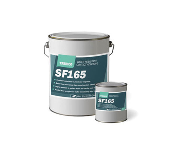 SF165 is a cross-linking contact adhesive. used for the permanent bonding of: smooth backed rubber floor coverings and PVC