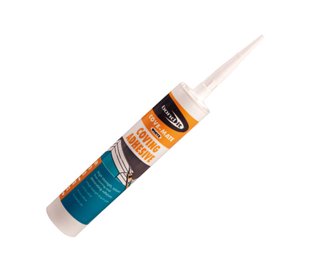 A high strength, solvent-free, gap-filling, coving and decorating adhesive
