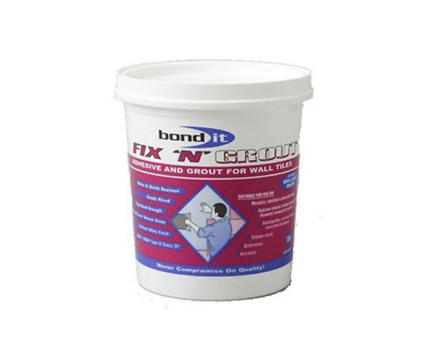 ready mixed adhesive paste, for use as a thin-bed waterproof ceramic wall tile adhesive and joint filling grout
