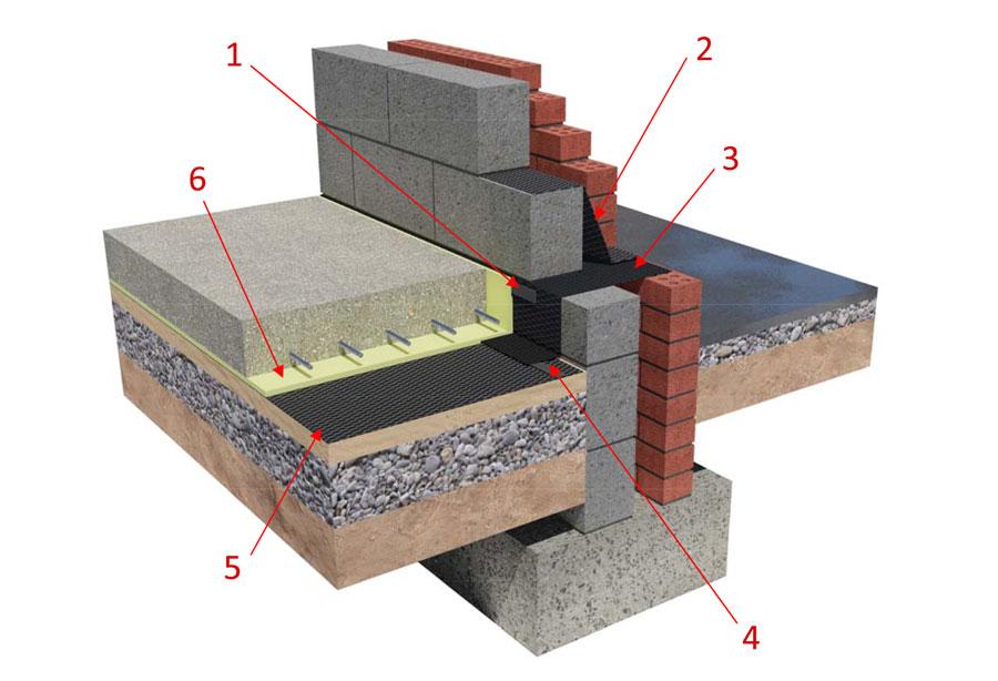 memtech radon membrane ground bearing slab
