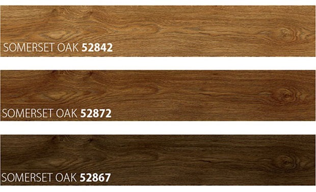 Three Dark Coloured Samples of Wooden Look Flooring type Summerset Oak