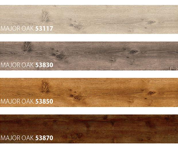 Four samples of vinyl floor type Major Oak