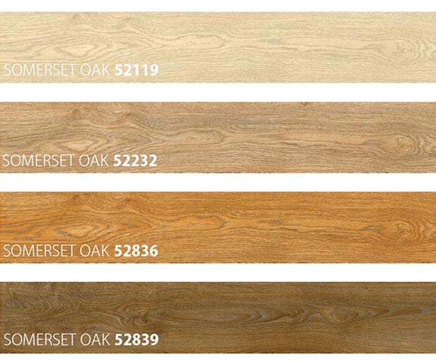 Colour samples of vinyl floor type Major Oak
