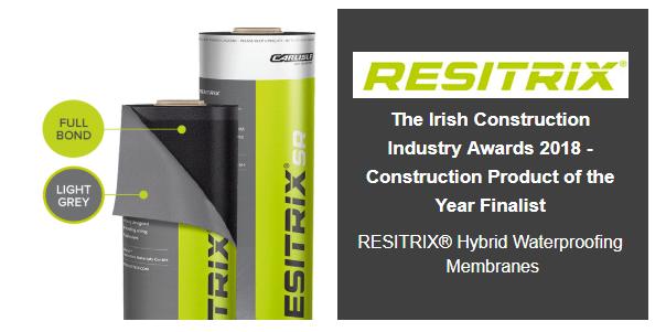 Image of Resitrix Hybrid Waterproof Membrane with Irish Construction Award 2018 text