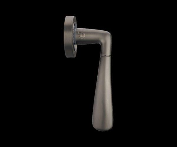 fortessa gotham phantom dark grey door handle with gun metal grey and polished chrome finish