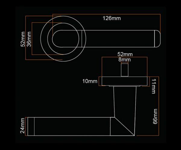 fortessa gotham spectre dark grey door handle with gun metal grey and polished chrome finish dimensions