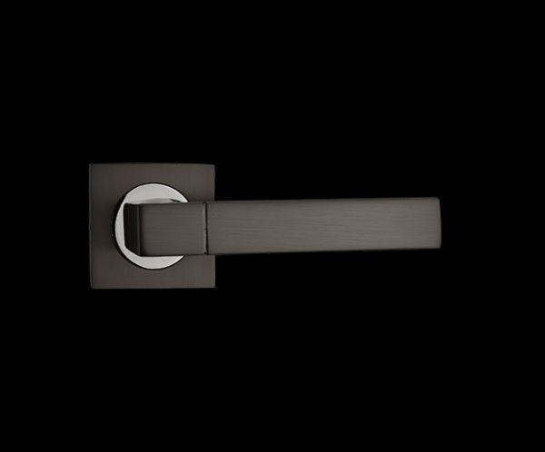 fortessa gotham taranis dark grey door handle with gun metal grey and polished chrome finish