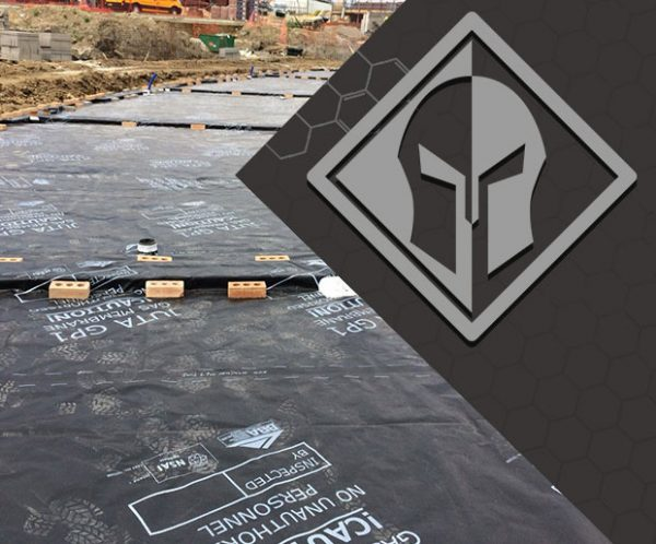 Juta Titanflex Gas and hydrocarbon barrier installed on the site with Titan logo