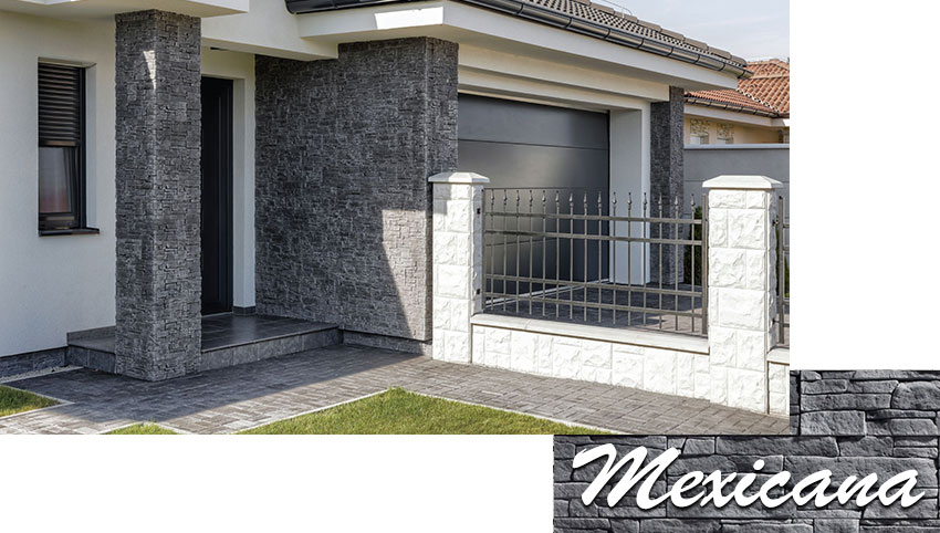 Stegu mexicana graphite decorative stone tiles installed on the house facade