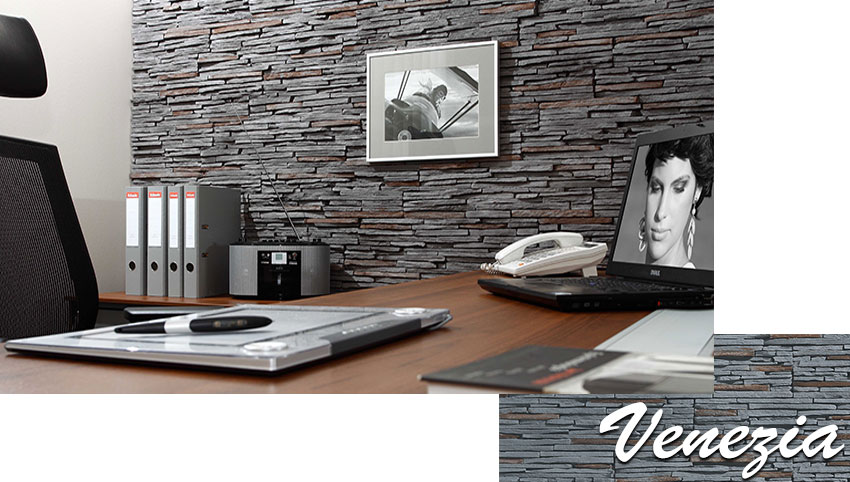 Stegu venezia graphite decorative stone tiles installed on the office walls