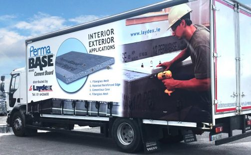 New branded curtains for the Laydex truck!