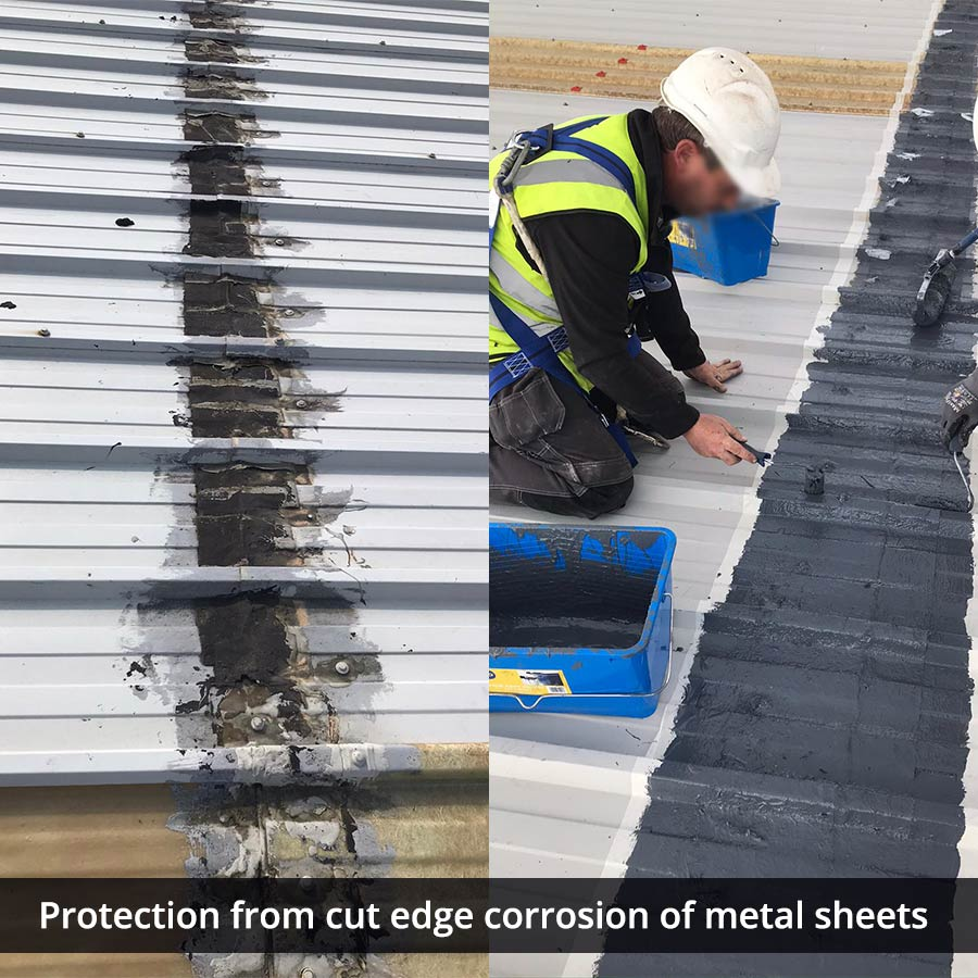 Cut Edge Corrosion Protection - Metal Sheets - Liquiflex-Pro Roofing Waterproofing