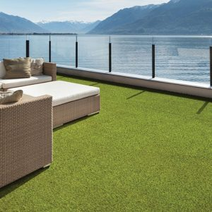 Laydex Breeze Grass. The two tone straight green yarn is combined with a texturised beige yarn which is designed to mimic the colours, shape, structure and behaviour of natural grass