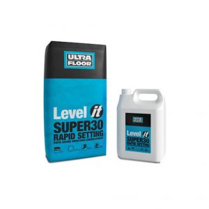 UltraFloor Level IT Super30 is a high specification, high strength, rapid drying and curing two-part cementitious smoothing underlayment.