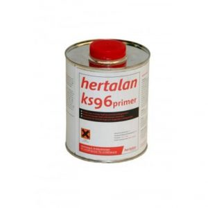 Hertalan KS96 primer based on polyurethane resin and solvents. The primer is applied on porous substrates to improve adhesion.