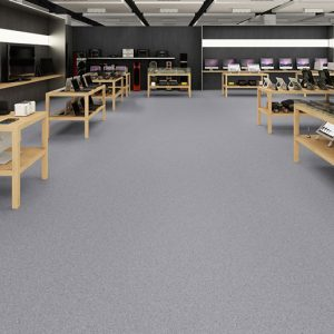 Slip resistant heterogeneous vinyl flooring.