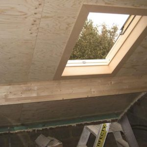 UNIPUR PLUS PLY is a self supporting and insulating roof panel, with a water-resistant, aesthetic ply inner facing which is glued to two timber rafters.