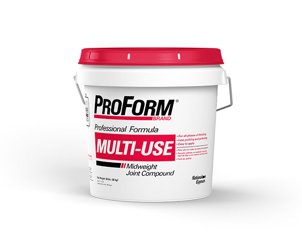 ProForm Multi-Use Joint Compound is designed for tape application, fastener spotting, texturing and complete joint finishing of gypsum board
