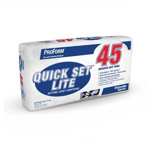 ProForm® BRAND Quick Set™ Lite Setting Compound is a quick setting/hardening type joint compound that is 30% lighter than conventional setting compound,