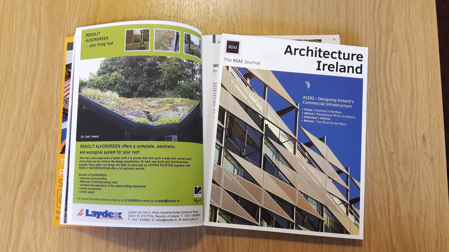 Architecture Ireland Magazine featuring our Renolit Green Roof System,