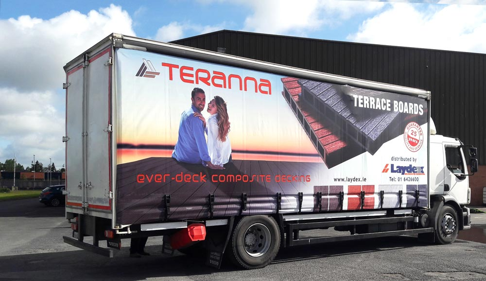 Laydex Truck promoting Teranna Composite Decking