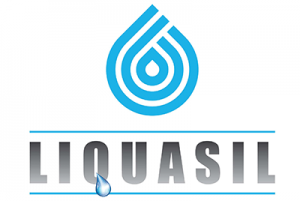 Liquasil logo in blue and grey