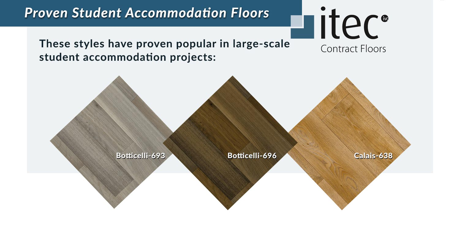 three samples of itec vinyl contract floors for student accommodation that look like natural wood