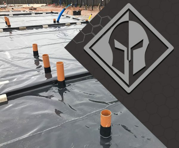 Juta Titantank Self-Adhesive Gas and hydrocarbon barrier installed on the site with Titan logo
