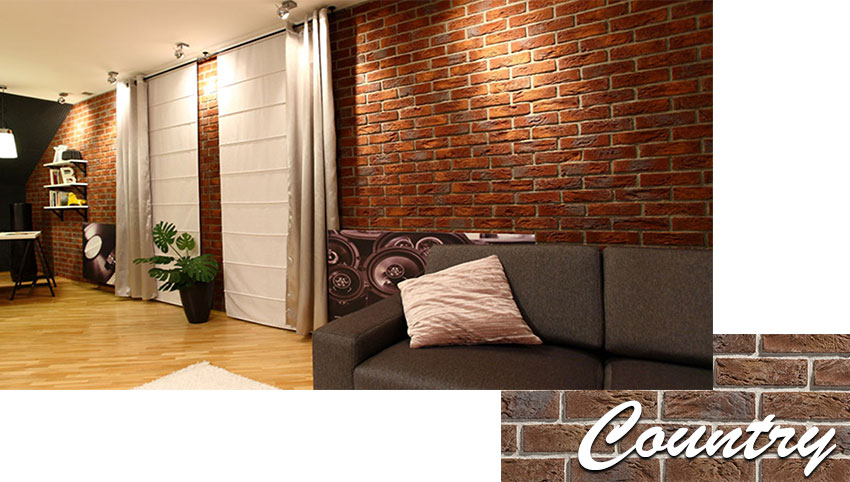 Stegu country decorative brick installed on the wall in the living room