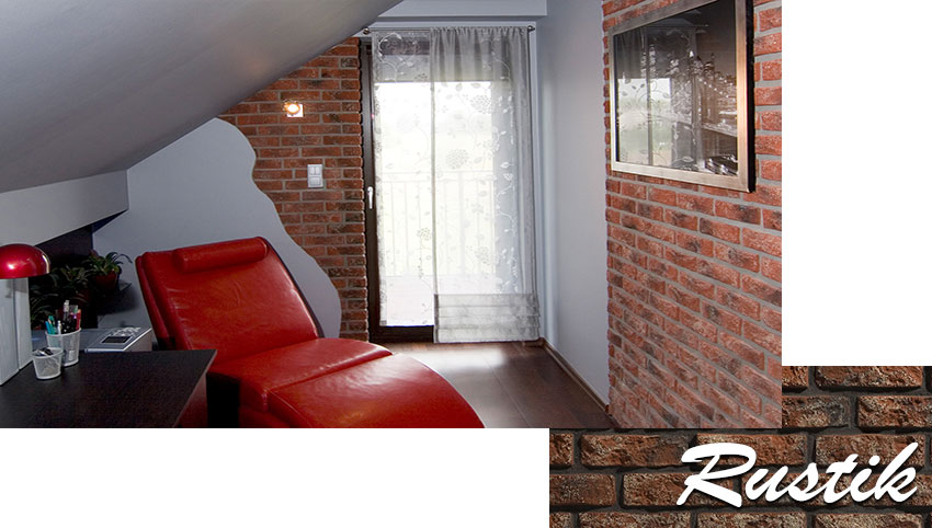 Stegu rustik decorative brick installed on the wall in the living room