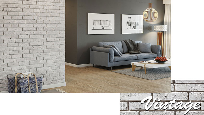 Stegu vintage decorative brick installed on the wall in the living room