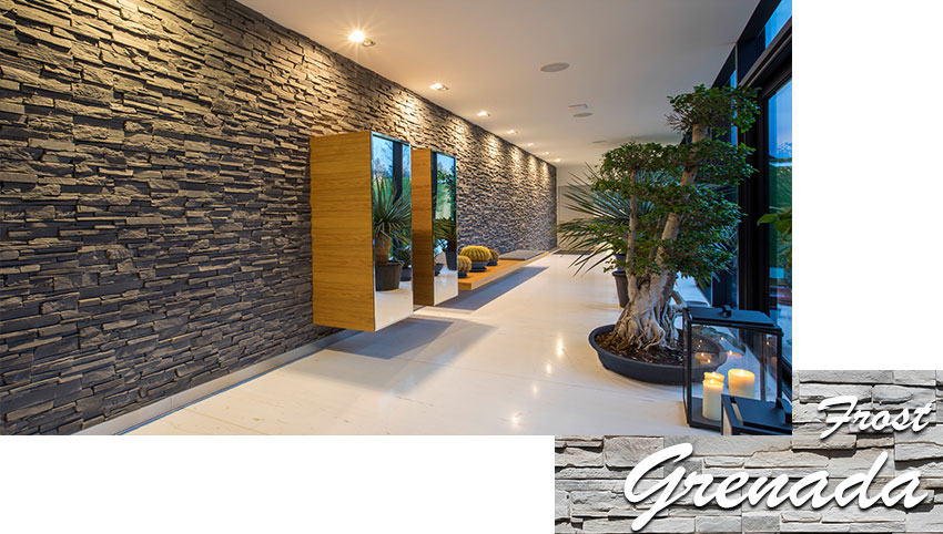 Stegu grenada frost decorative stone tiles installed on wall