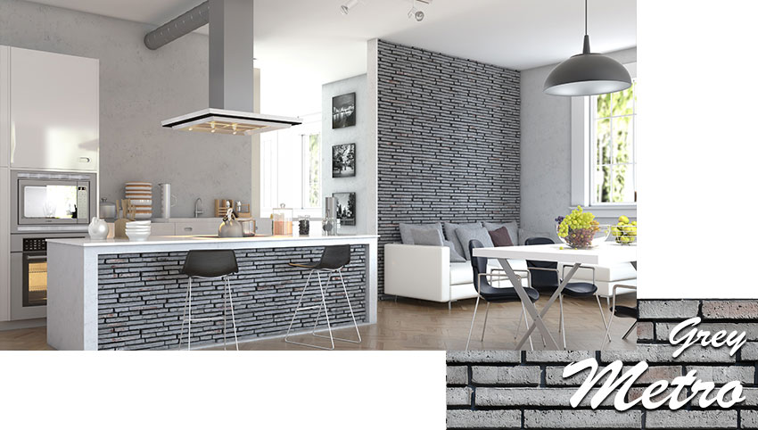 Stegu metro grey decorative stone tiles installed on the kitchen counter and living room wall