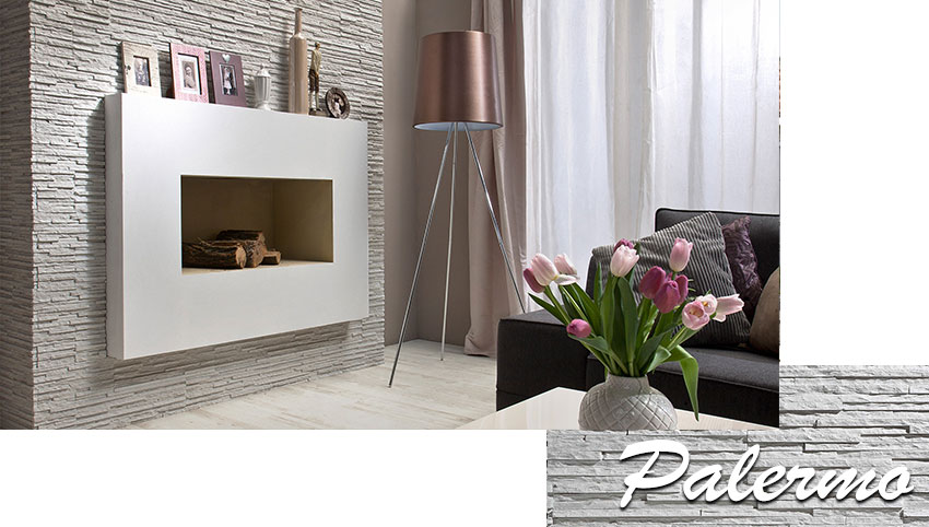 Stegu palermo white decorative stone tiles installed on wall in living room