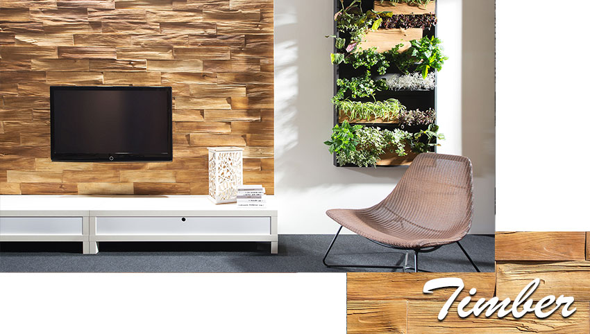 Stegu timber wood decorative stone tiles installed on the wall in living room
