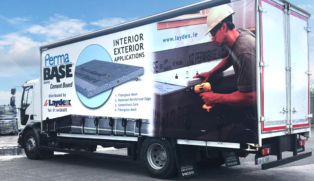 Laydex Truck with PermaBase Cement Board branding